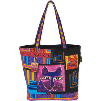 """Laurel Burch Tote- Shoulder Tote 16""""X5""""X14"""" Whiskered Cats"""