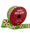 Maker\u0027s Holiday Christmas Ribbon 1.5\u0027\u0027x30\u0027-Peppermints on Lime Green