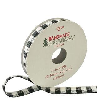 Handmade Holiday Christmas Ribbon 3/8''x9'-Black & White Checks