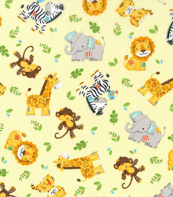 Nursery Cotton Fabric -Zoo Animal Toss