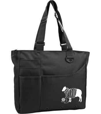 "Knit Happy Unwound Sheep Bright Bag 15""X13""X4""-Black"