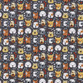 Snuggle Flannel Fabric-Dog Faces with Spots on Black