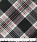 Anti-Pill Plush Fabric-Sean Black, Gray & Red Plaid