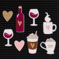DCWV Home 8 Pack Letter Board Icons-Coffee & Wine