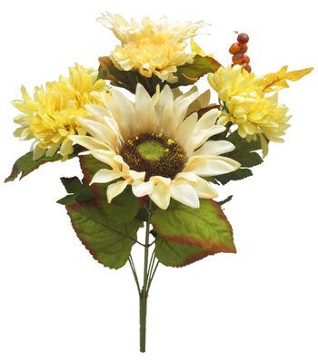 Blooming Autumn 19'' Sunflower, Mum & Berry Bush-Cream & Yellow