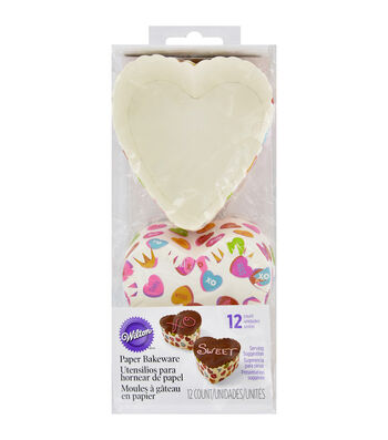 Wilton Scalloped Heart Baking Cups-Words Can Express 12/Pkg