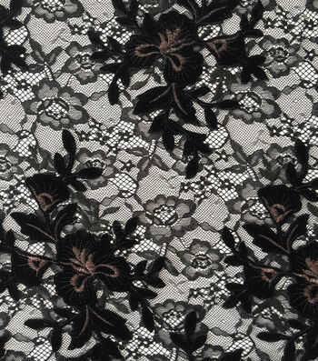 "Holiday Shine Velvet Embroidered Lace Fabric 55""-Black"