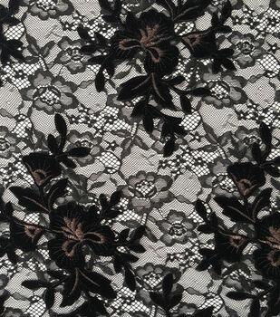 "Holiday Shine Velvet Embroidered Lace Fabric 55""-Black"