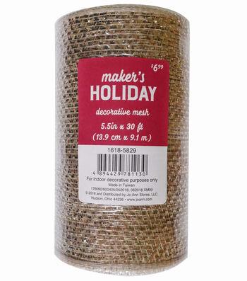 Maker's Holiday Metallic Decorative Mesh Ribbon 5.5''x30'-Champagne