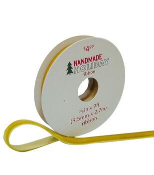 Handmade Holiday Christmas Velvet Ribbon 3/8''x9'-Yellow Gold