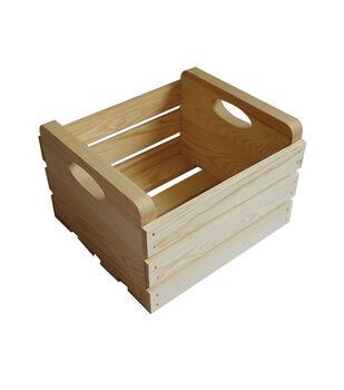 Medium Basic Pine Wood Crate with Handles