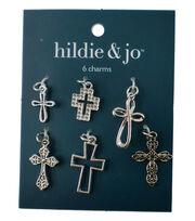 hildie & jo 6 Pack Cross Silver Charms, , hi-res