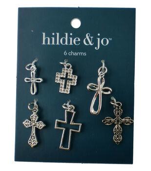 hildie & jo 6 Pack Cross Silver Charms