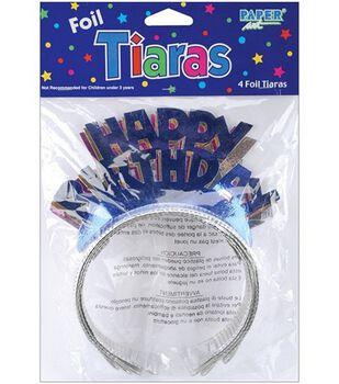 Happy Birthday Foil Tiaras 4/Pkg-Assorted Colors