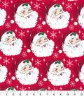 Keepsake Calico Holiday Cotton Fabric 44\u0022-Santa Heads