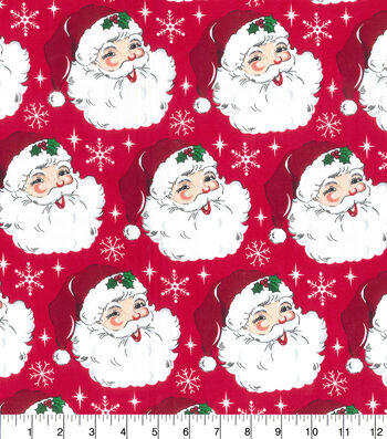 Holiday Cotton Fabric -Santa Heads