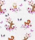 Nursery Cotton Fabric -Woodland Faces
