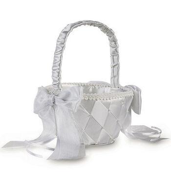 "Wilton 6.65""x8.3""x5.5"" Satin Ribbon Flower Basket-White"