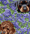 Snuggle Flannel Fabric 42\u0022-Dogs On Floral