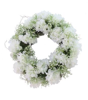 Fresh Picked Spring 20'' Hydrangea & Baby's Breath Wreath