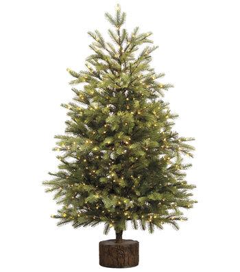 Pine Tree on Wood Base with Rice Lights 3.5'