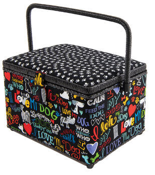Rectangle Sewing Basket-Dogs on Black