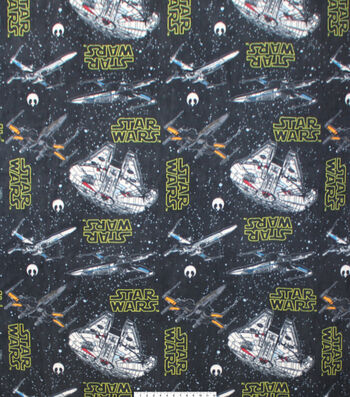 "Star Wars Fleece Fabric 58""-Ships Black"