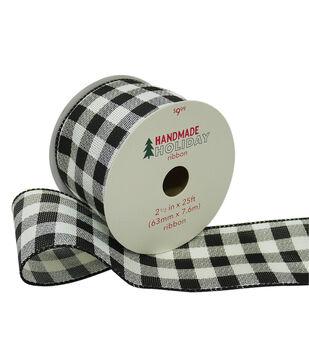 Handmade Holiday Christmas Ribbon 2.5''x25'-Black & White Buffalo Checks