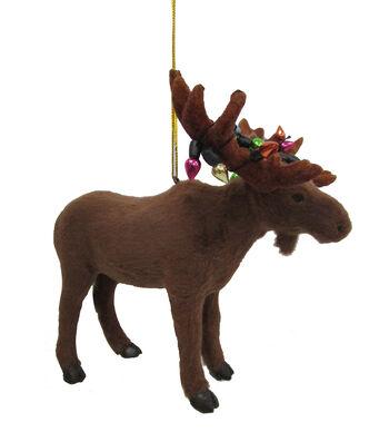 Maker's Holiday Christmas Furry Moose Ornament