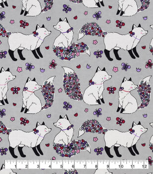 Snuggle Flannel Fabric-Pretty Kitty Floral