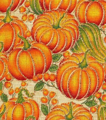 Harvest Linen Look Fabric -Pumpkin Metallic