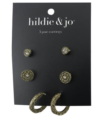 hildie & jo 3 Pack Antique Gold Earrings