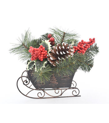 Blooming Holiday Christmas 12'' Berry & Pine Arrangement in Copper Sled