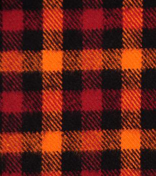 Plaiditudes Brushed Cotton Fabric-Orange, Rust & Black Checks