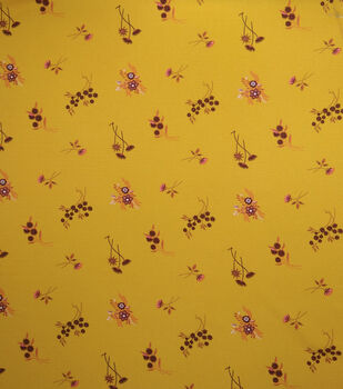 """Downtown Collective Crepe Fabric 57""""-Ditsy Floral on Yellow"""