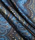 Brocade Fabric 44\u0027\u0027-Blue & Gold Paisley Scallop