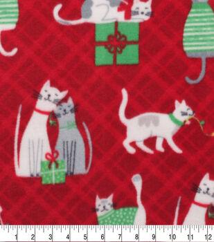 Anti-Pill Plush Fleece Fabric-Chistmas Cat Presents