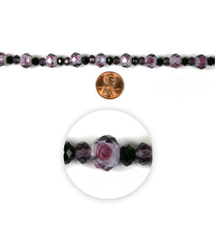 Blue Moon Strung Lampworked Glass Beads,Rondelle,Purple & black,Facetted