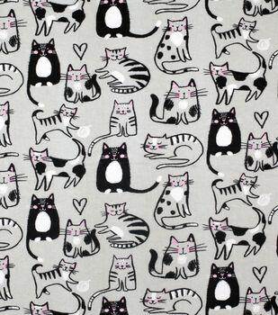 Super Snuggle Flannel Fabric-Sketched Kitty on Gray