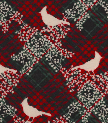 "Snuggle Flannel Fabric 42""-Cardinals With Plaid"