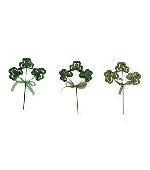 St. Patrick's Day Decor 3 pk 9'' Glitter Shamrock Picks