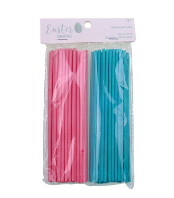 Easter 100 pk 6''x0.13'' Candy & Treat Mold Sticks-Pink & Turquoise