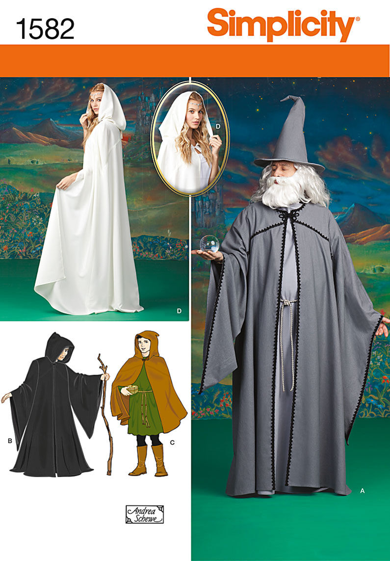 Captivating Simplicity Pattern 1582A Adult Costumes Size XS S M L XL