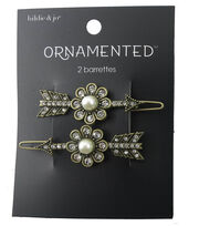 hildie & jo 2 Pack Arrow Antique Gold Barrettes-Pearl & Crystals, , hi-res