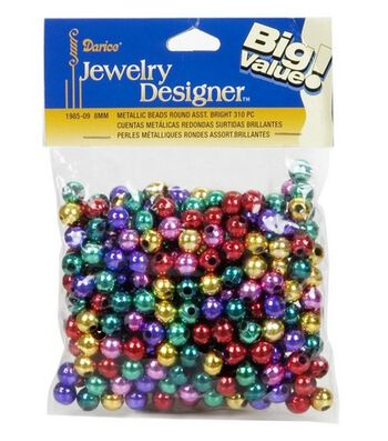 Darice Jewelry Designer Metallic Beads-Multicolor 8mm