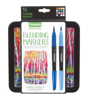 Crayola Signature Blending Markers with Tin-Assorted Colors 14/Pkg