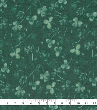 St. Patrick's Day Cotton Fabric-Greenery on Green