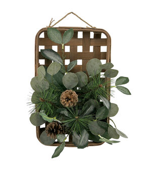 Handmade Holiday Christmas Laurel Leaf, Pine & Pinecone Basket Wreath