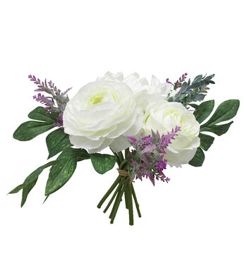 Fresh Picked Spring 13.5'' Peony & Rose Bouquet-White