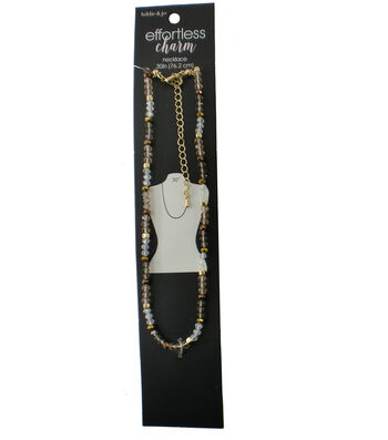 hildie & jo 30'' Necklace-Natural Stone Beads with Gold Spacers